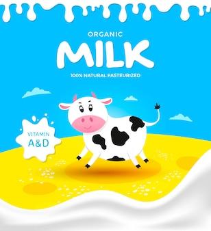 Illustration pour l'emballage du produit laitier.