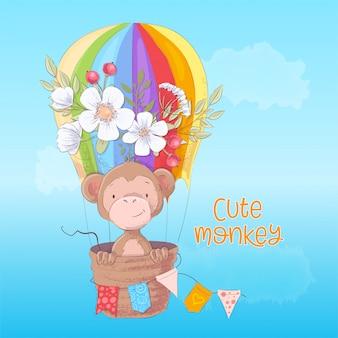 Illustration pour enfants d'un singe mignon dans un ballon avec des fleurs