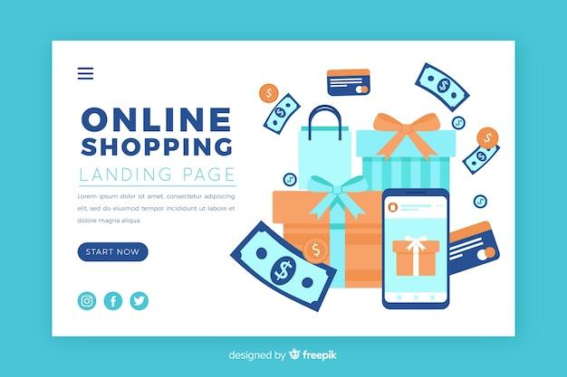 Illustration pour la page de destination avec le concept de magasinage en ligne