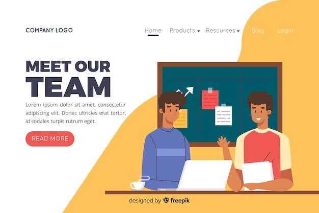 Illustration pour la page de destination avec le concept de notre équipe