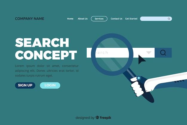 Illustration pour la page de destination avec le concept de recherche