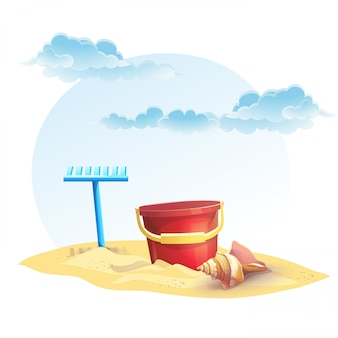 Illustration pour seau de sable pour enfants et râteau avec coquille