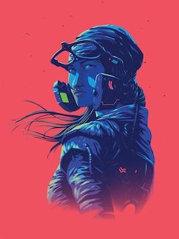 Illustration pour une taille d'affiche d'une femme pilote futuriste