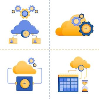 Illustration pour le temps, la technologie 4.0, les affaires, le service de réseau cloud, le délai d'expiration du serveur.