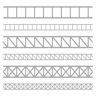Illustration de poutre en treillis d'acier sur fond blanc