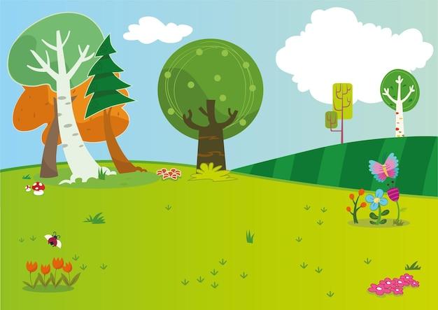 Illustration de prairie de dessin animé en format vectoriel