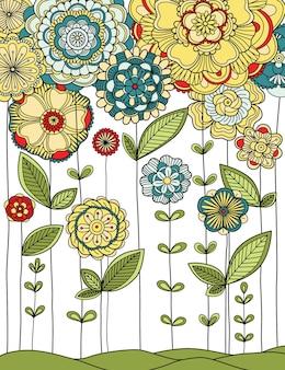 Illustration de la prairie avec des fleurs