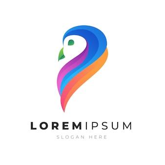 Illustration premium du logo d'oiseau hibou abstrait coloré
