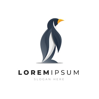 Illustration premium du logo d'oiseau pingouin abstrait coloré