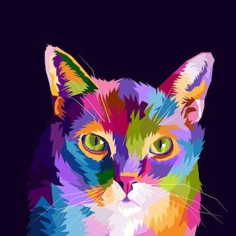 Illustration premium de portrait pop art chat coloré