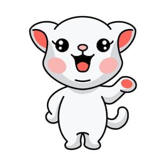 Illustration de la présentation d'un mignon petit chat blanc