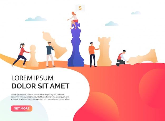 Illustration de présentation stratégie entreprise orange