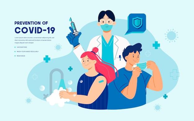 Illustration de la prévention du covid19