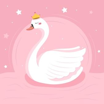 Illustration de princesse cygne design plat