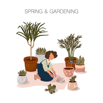Illustration de printemps et de jardinage. une jeune fille passe du temps à planter des plantes d'intérieur dans un style cartoon plat.