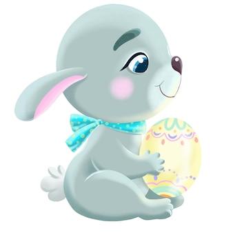 Illustration de printemps de mignon lapin de pâques avec oeuf
