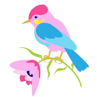 Illustration de printemps avec un oiseau et des fleurs roses un oiseau est assis sur une illustration d'été de fleurs