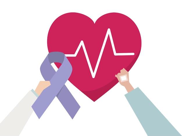 Illustration d'une prise de conscience pour une maladie cardiaque