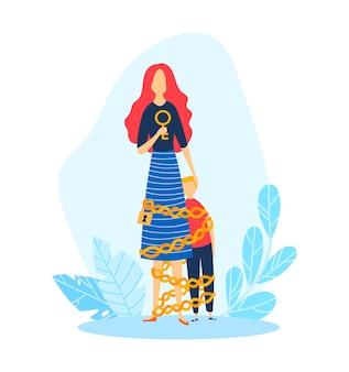 Illustration de problème de relation parent enfant mère, enfant et maman. conflit parental, personnage de femme lie son fils par chaîne de dessin animé