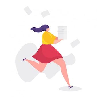 Illustration de problèmes de travail, femme d'affaires de dessin animé en cours d'exécution rapide dans le stress, les heures supplémentaires, le concept d'échec d'échéance sur blanc