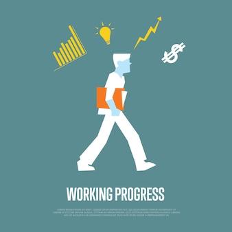 Illustration de processus de travail avec homme d'affaires