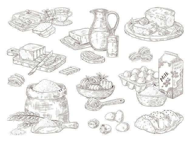 Illustration de produits de boulangerie dessinés à la main