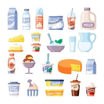 Illustration de produits de ferme naturels laitiers