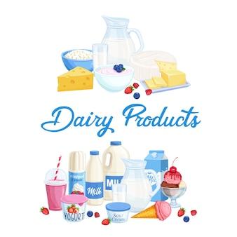 Illustration de produits laitiers
