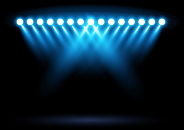 Illustration de projecteur d'éclairage stade arène bleu vif