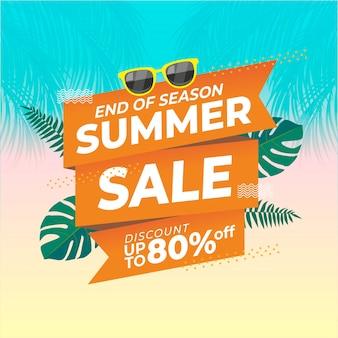 Illustration de promotion de fin de vente d'été
