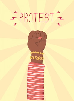 Illustration de protestation de poing humain main afro