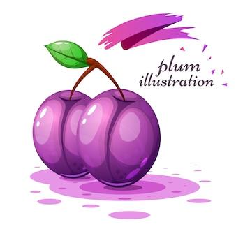 Illustration de prune de dessin animé sur le fond gris