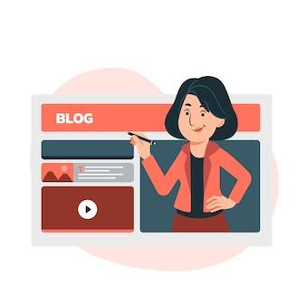 Illustration de publication de blog plat organique avec des personnes