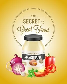 Illustration publicitaire verticale de mayonnaise réaliste