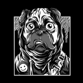 Illustration de pug life en noir et blanc