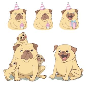 Illustration de pug mignon.