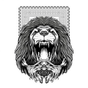 Illustration puissante noire et blanche de lion d'automne