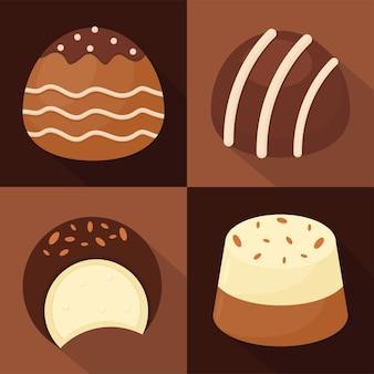 Illustration de quatre chocolats sucrés