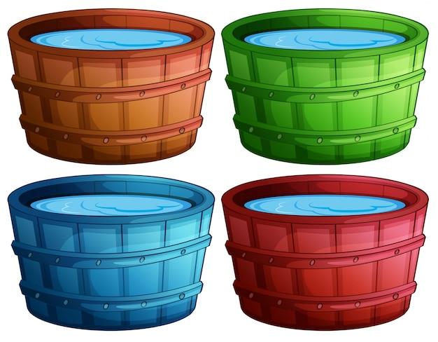 Illustration de quatre seaux de couleurs différents