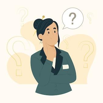 Illustration de questions de concept de femme d & # 39; affaires