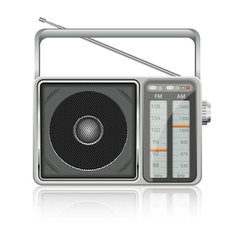 Illustration de radio vintage portable sur fond blanc