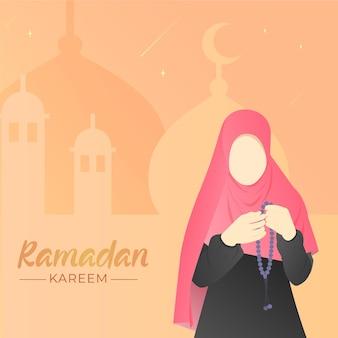 Illustration de ramadan design plat avec femme priant