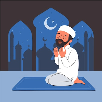 Illustration de ramadan dessiné à la main avec une personne priant