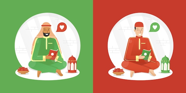 Illustration de ramadan avec homme musulman lisant le coran