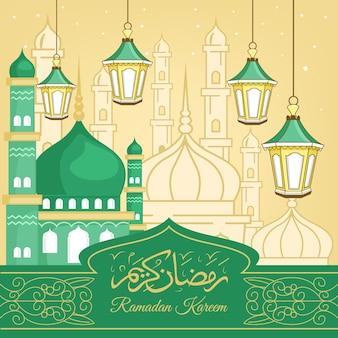 Illustration De Ramadan Kareem Dessiné à La Main Vecteur Premium
