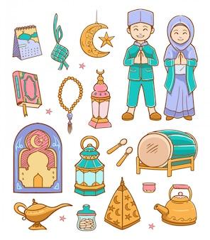 Illustration de ramadan kareem de doodle