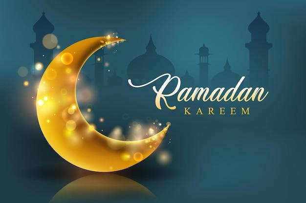 Illustration de ramadan kareem avec lune, ville et lettrage