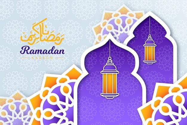 Illustration de ramadan kareem en style papier