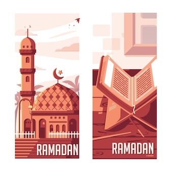 Illustration de ramadan plat moderne