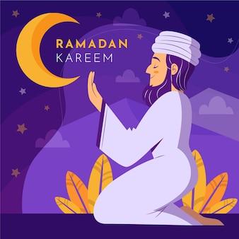 Illustration de ramadan plat organique avec personne priant